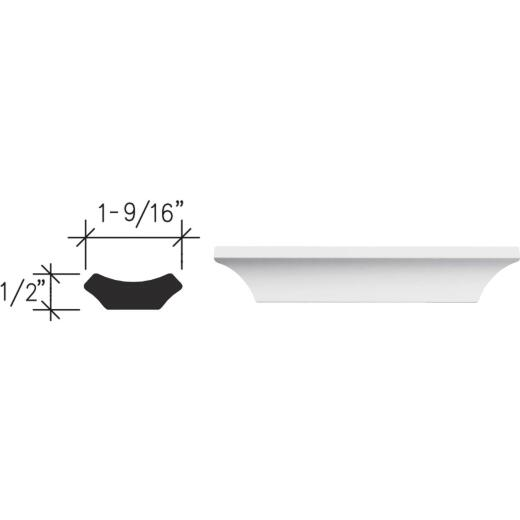 Inteplast Building Products 1/2 In. W. x 1-9/16 In. H. x 8 Ft. L. Crystal White Polystyrene Cove Molding