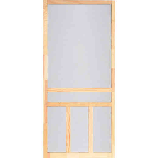 Screen Tight Creekside 36 In. W x 80 In. H x 1 In. Thick Natural Fingerjoint Wood T-Bar Screen Door