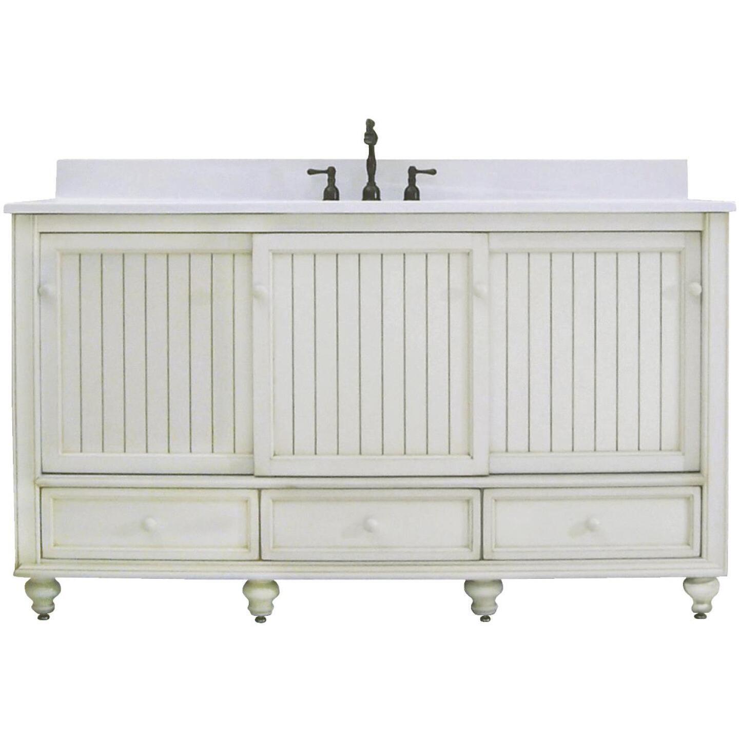 Sunny Wood Bristol Beach White 60 In. W x 34 In. H x 21 In. D Vanity Base, 2 Door/3 Drawer Image 1
