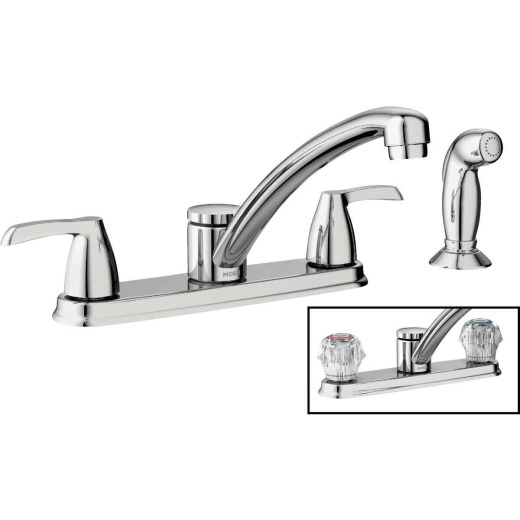 Moen Adler Dual Handle Lever (or Knob) Kitchen Faucet with Side Spray, Chrome