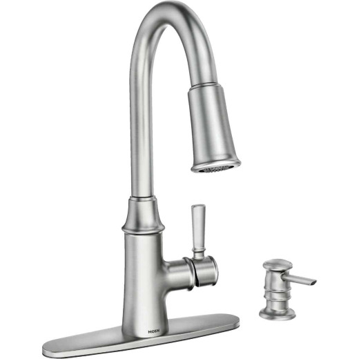 Moen Caris Single Handle Lever Kitchen Faucet with Soap Dispenser, Stainless