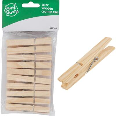 Smart Savers Spring Wood Clothespins (20-Pack)