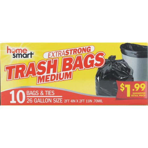 Home Smart 26 Gal. Large Black Trash Bag (10-Count)