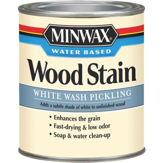 Minwax Water-Based White Wash Pickling Wood Stain, White, 1 Qt.